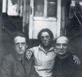 Pyotr Serebriakov (Ekaterina Serebriakova's son from her first marriage), Ekaterina Serebriakova and Pavel Filonov at the dacha of Serebriakova's first husband, Esper Serebriakov. 30 August 1928