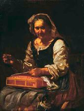Bernhard [Eberhard] KEIL; [Monsù Bernardo] Old Woman Sewing (Allegory of Touch)