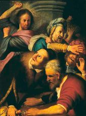 REMBRANDT Harmenszoon van Rijn. Christ Driving the Moneychangers from the Temple. 1626
