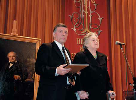 Natalia Priymak, Tretyakov Prize Laureate, and Viktor Bekhtiev, President of the Pavel Tretyakov Charitable Foundation
