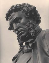Monument to Alexander Sergeevich Pushkin in Moscow. Detail