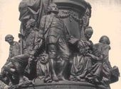 Pedestal of the monument to Catherine the Great in St. Petersburg with the sculptural group, including Vasily Chichagov, Alexei Orlov-Chesmensky, Gavriil Derzhavin and Yekaterina Dashkova. 1862–1873