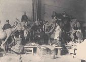 Preparing sculptures to accompany a demonstration in Leningrad (Professor Andrei Matveev's class. Yekaterina Belashova in the left foreground). Photograph, 1929