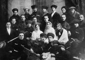 Khadzhi-Bekr Akhriev (second on the left, third row) and Gazi-Magomed Dourbekov (second on the right, fourth row) with actors from the Ingush Theatre at the Mountain Peoples' Arts Olympiad competition, Rostov-on-Don, 1931