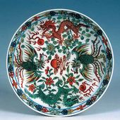 Plate with Decoration of Dragons and Phoenixes. Qing dynasty. 18th century