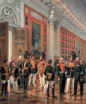 Karl PIRATSKY. Courtiers and Military Personnel in the 1812 Portrait Gallery in the Winter Palace. 1861