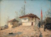 Vasily POLENOV. The Residence of Tsarevich Alexander Alexandrovich in the village of Brestovtse, guarded by a Cossack soldier during the Russo-Turkish conflict in the Balkans. 1877