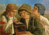 Неизвестный художник (круг А.Г. Венецианова). Деmи, оmпускающие пmичку на волю. Середина XIX в.