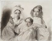 FYODOR BRUNI. Portrait of the Princesses Vyazemsky: Praskovya, Nadezhda and Maria. 1835