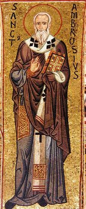 St. Ambrose of Milan. Mosaic. 12th century