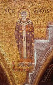 St. Ambrose of Milan. Mosaic. 11th century