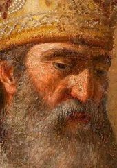 Head of St. Ambrose. Detail of Andrei Ivanov's painting from the Tretyakov Gallery