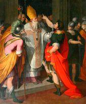 CAMILLO PROCACCINI (1561-1629). St. Ambrose Stopping Theodosius