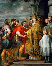PETER PAUL RUBENS (1577-1640). Theodosius and Ambrose. c. 1615