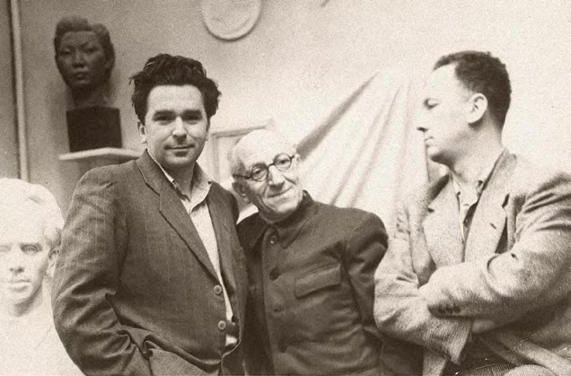 At the studio with friends (the sculptor Yury Neroda, right)