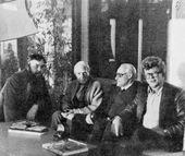 In Henry Moore's studio, from left: Oleg Komov, Henry Moore, Vladimir Tsigal, Yury Chernov. 1981