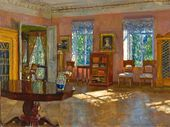 Stanislav ZHUKOVSKY. Interior of the Library in the Landlord's House. 1916 (?)