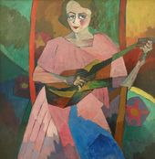 Aristarkh LENTULOV. Portrait (Woman with a Guitar). 1913 (?)