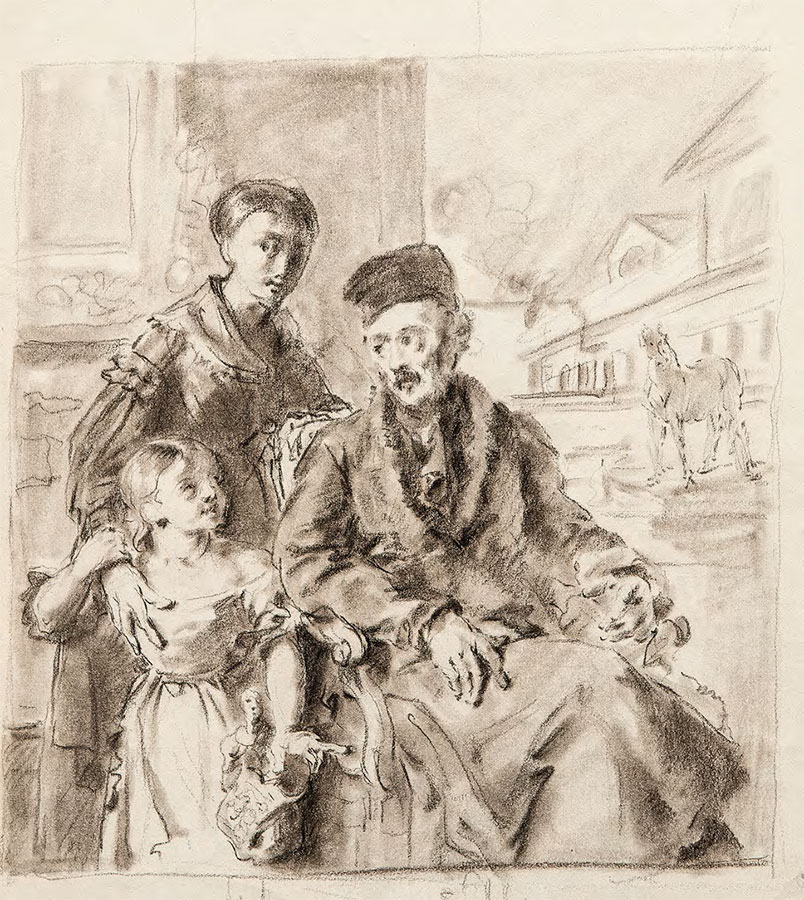 Vasily TROPININ (1776-1857). Portrait of Dmitry Voieikov with His Daughter Varvara Voieikova and English Governess Miss Sorock. Sketch. 1824