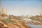 Nikolai MAKOVSKY (1841-1886). View of the Cathedral of Christ the Saviour and the Kremlin from the Moscow River Embankment. 1860s