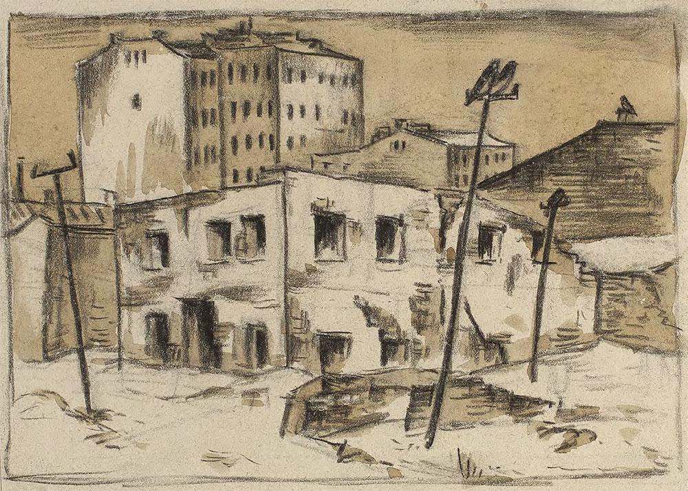 Nikolai CHERNYSHEV. Street in Winter. 1919