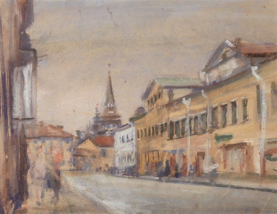 Boris CHERNYSHEV. Volkhonka Street. Toward Borovitsky Gate. Early 1950s