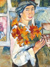 Natalia GONCHAROVA. Self-portrait with Yellow Lilies. 1907
