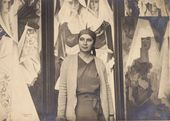 Natalia Goncharova at her studio with the polyptych 'Spanish Women' and the painting 'Two Spanish Women'. Photograph. [Mid-1920s-1930s]