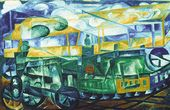 Natalia GONCHAROVA. Biplane Flying over Train. 1913