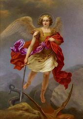 "Porcelain tablet painted with a copy of ""Michael the Archangel"""