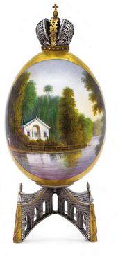 """Easter Egg """"View of Children's Island in the Alexander Park at Tsarskoye Selo"""""""