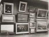 Display in the Tretyakov Gallery. Hall 4 with paintings by Arkhip Kuindzhi, Ivan Aivazovsky, Vasily Maximov and others (right longitudinal wall). Photograph. 1898
