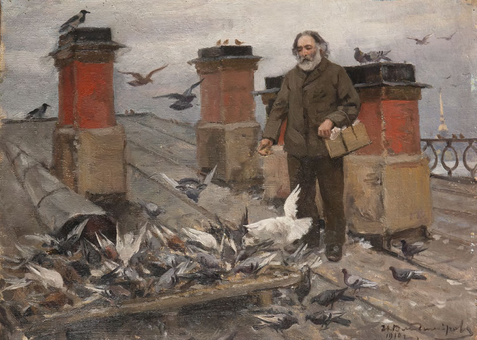 Ivan VLADIMIROV. On the Rooftop. Arkhip Kuindzhi Feeding Pigeons. 1910