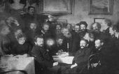 "Arkhip Kuindzhi at the ""Mendeleev Wednesdays"" (third from left, sitting). Photograph. 1880s, St. Petersburg"