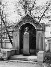 The necropolis of prominent cultural figures at the Tikhvinskoe Cemetery of the Alexander Nevsky Lavra, where Kuindzhi's remains were reinterred and his tombstone mounted in 1952, after their transfer from the Smolensky Christian Orthodox Cemetery. The tombstone was created by Alexei Shchusev, Nicholas Roerich, Vladimir Beklemishev. 21st century