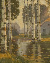 A Pond with Birch Trees. c. 1910. Detail