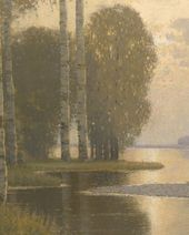 Landscape with Birch Trees. c. 1910. Detail