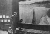 Alexander Borisov at the exhibition of his paintings in London. 1907