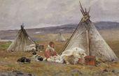 Alexander BORISOV. A Nenets Yurt in Malye Karmakuly. Novaya Zemlya. 1896