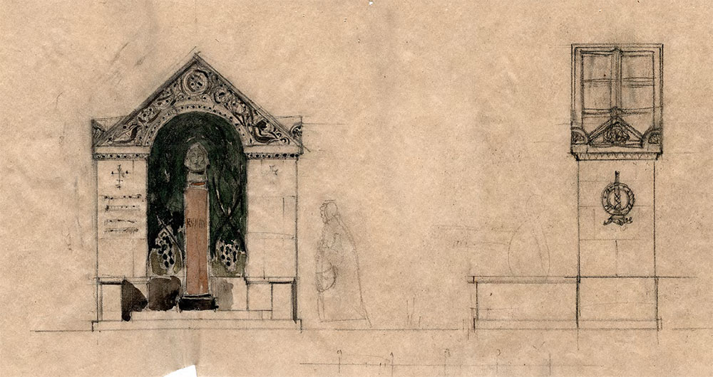 Alexei SHCHUSEV. Sketch for Arkhip Kuindzhi's memorial. Final version with a carved pediment. Facades. 1913