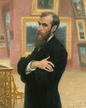 ILYA REPIN. Portrait of Pavel Tretyakov. 1901. Detail