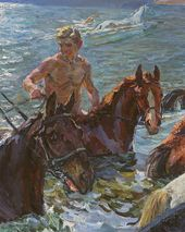 Bathing the Horses. 1938. Detail