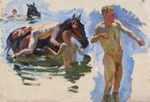 "Sketch for the painting ""Bathing the Horses"". Bathing the Horses. No. 8. 1937–1938"