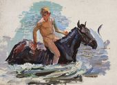 "Sketch for the painting ""Bathing the Horses"". Bathing the Horses. No. 6. 1937–1938"