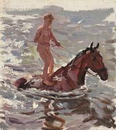 "Sketch for the painting ""Bathing the Horses"". Bathing the Horses. No. 3. 1937–1938"