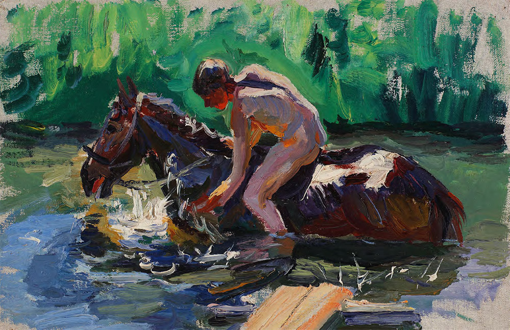 "Sketch for the painting ""Bathing the Horses"". Bathing the Horses. No. 15. 1937-1938"