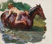 "Sketch for the painting ""Bathing the Horses"". Bathing the Horses. No. 1. 1937–1938"