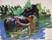 "Sketch for the painting ""Bathing the Horses"". Bathing the Horses. No. 14. 1937–1938"