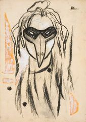 "Mask of a Rooster. Sketch for Igor Stravinsky's ballet ""The Fox"". 1922"