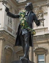 Alfred Drury's statue of Sir Joshua Reynolds in the courtyard of the Royal Academy of Arts. Erected in 1931